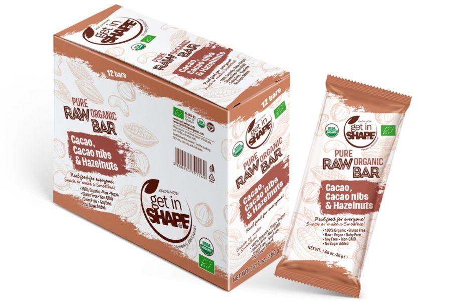 Pure Organic Raw Bar Cаcаo, Cаcаo nibs & Hazelnuts 1.06oz./30g