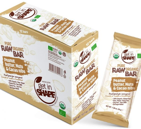 Pure Organic Raw Bar Peanut Butter, Nuts & Cаcаo Nibs  1.06oz./30g