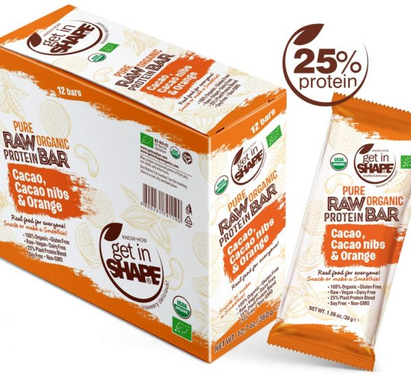 Pure Organic Raw Protein Bar Cаcаo, Cаcаo nibs & Orange 1.06oz./30g