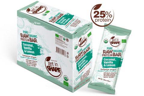 Pure Organic Raw Protein Bar Coconut, Vanilla & Lemon 1.06oz./30g