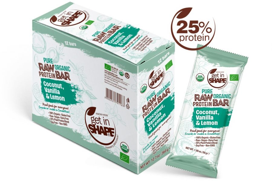 Pure Organic Raw Protein Bar Coconut, Vanilla & Lemon 1.06oz./30g