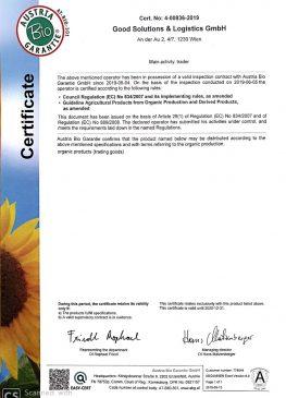 Certificate Austria Bio Garantie